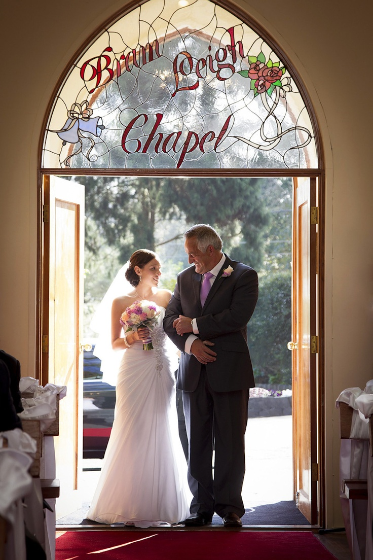 Wedding Photography at Bram Leigh Receptions Bride and father enter Chapel