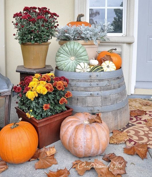 September Porch Scene. Fall Porch DecorationsThanksgiving ...