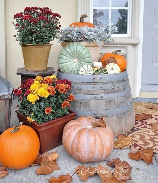 September Porch Scene. Fall Porch DecorationsThanksgiving ...