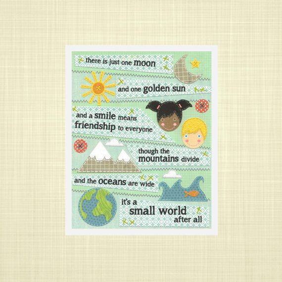 It's a Small World Kids wall art Nursery art by RosyHuesArt, $14.00