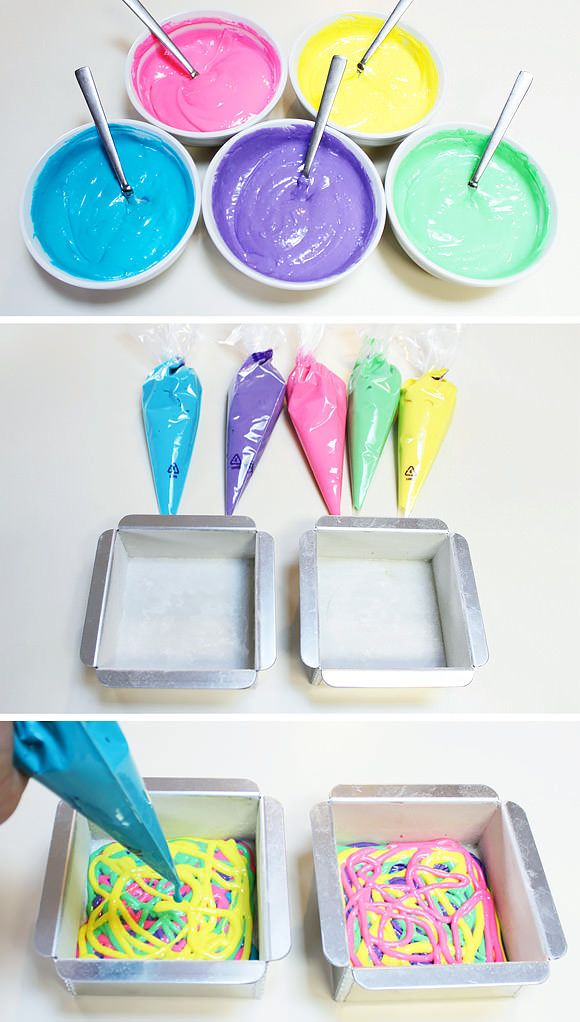 Not interested in doing the peace sign, but this is a good idea for a colorful cake for Abbie's birthday