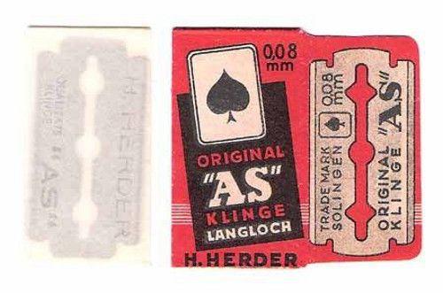 ORIGINAL AS (ACE) vintage safety RAZOR BLADE lametta da barba lame de rasoir