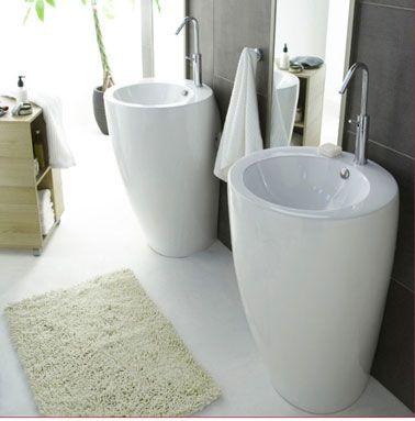 dco salle de bains gris et blanc deux superbes vasques sur colonne en cramique poses - Colonne Vasque Salle De Bain
