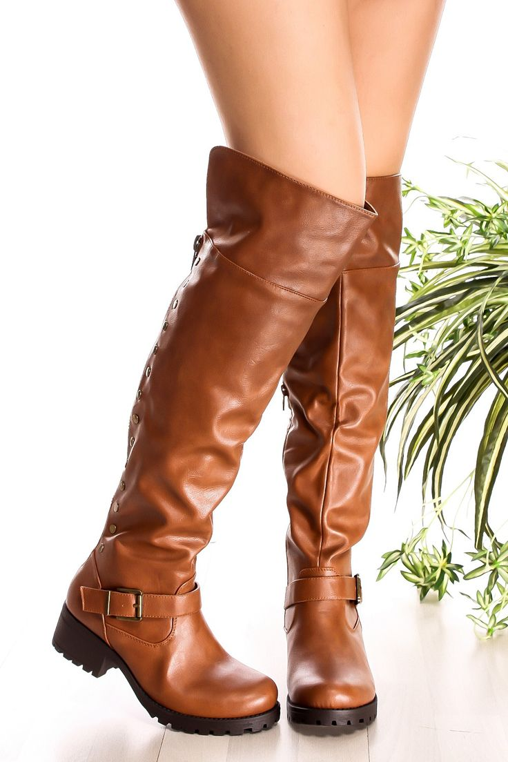 These over the knee boots feature a faux leather material, buckle accent, back zipper, button look, Great for any occasion, Boot measures about 21 inches from top to bottom.