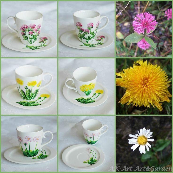 Ręcznie malowane filiżanki, polne kwiaty. Hand painted cups, wild flowers. Handbemalte Tassen, Wildblumen.