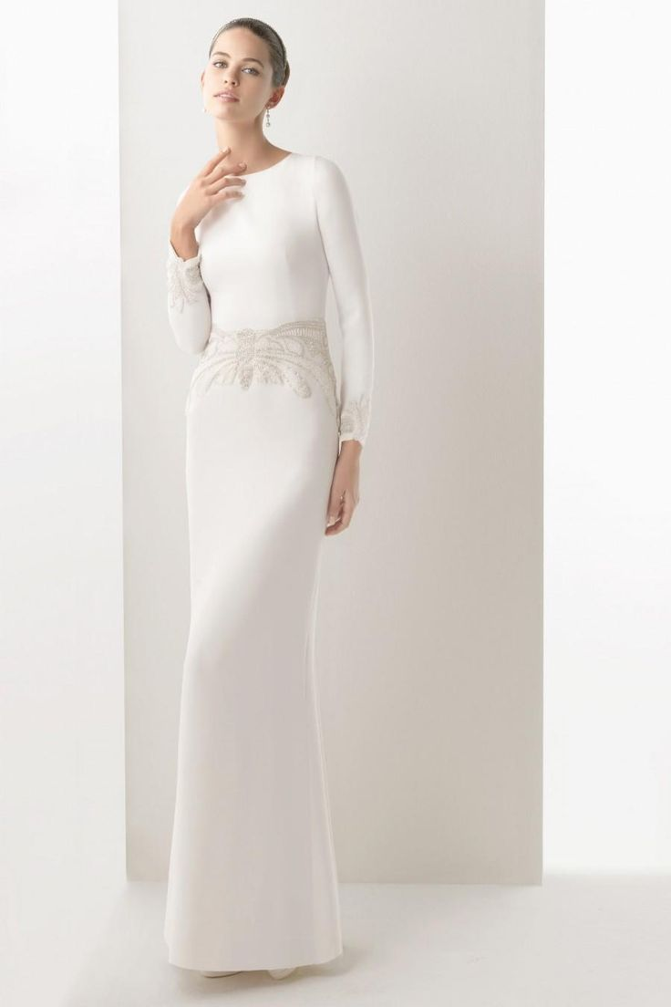 Dresses Pretty White Satin For Sheath Wedding Dress With Long Sleeve