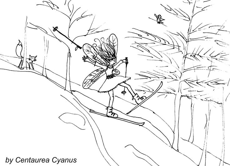 free coloring page by Centaurea Cyanus - skiing fairy - winter fairy - fairy want to be a human being without wings - wings hold back