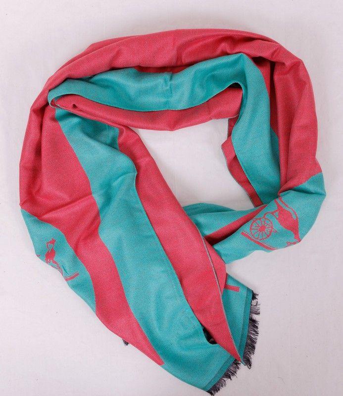 Большой длинный шарф Hermes из мягкого кашемира и шелка, розово-бирюзового цвета. Размер 180x65cm #19980