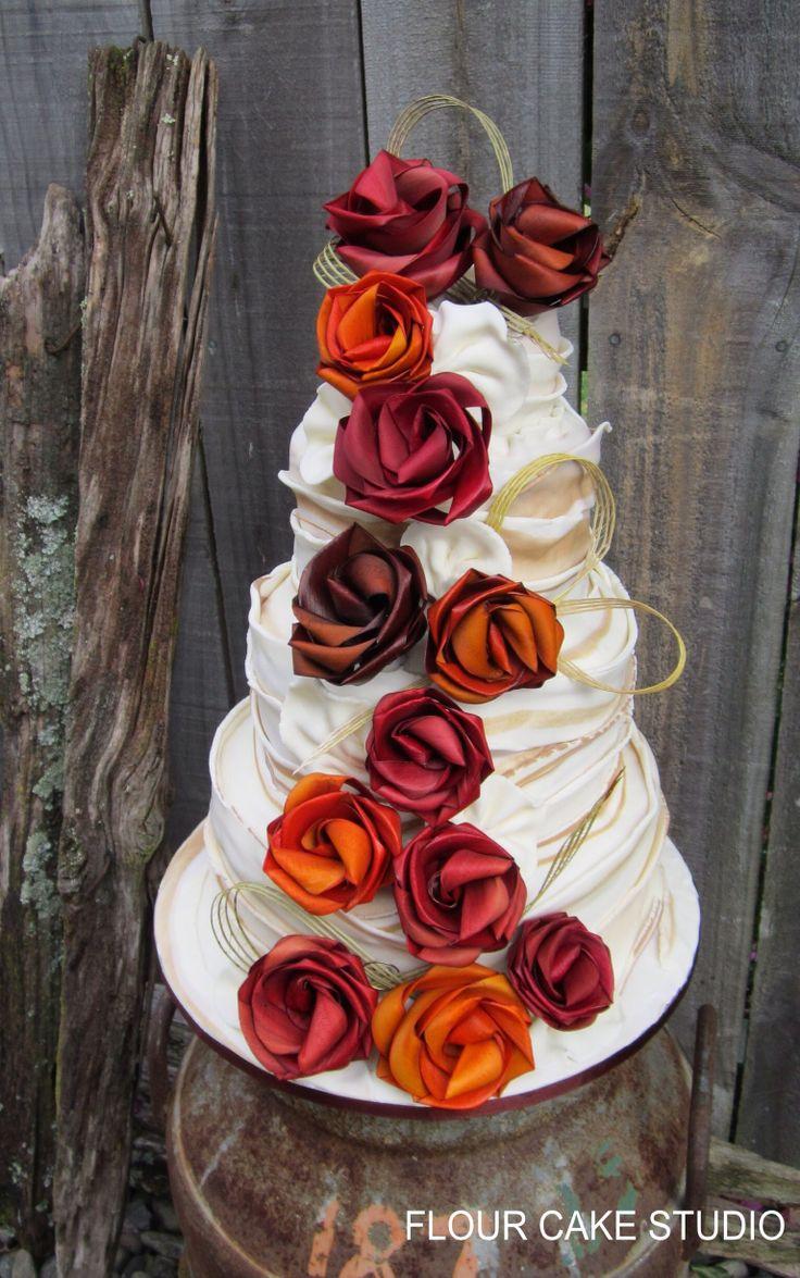Wedding cake by Flour cake studio and flax flowers by Flaxation.  www.flaxation.co.nz