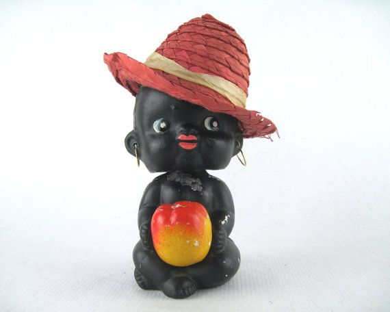 Bobbles, vintage 1950s Black Americana bobblehead coin bank - baby girl with straw hat & a large apple - nodder, bobble head, piggy bank