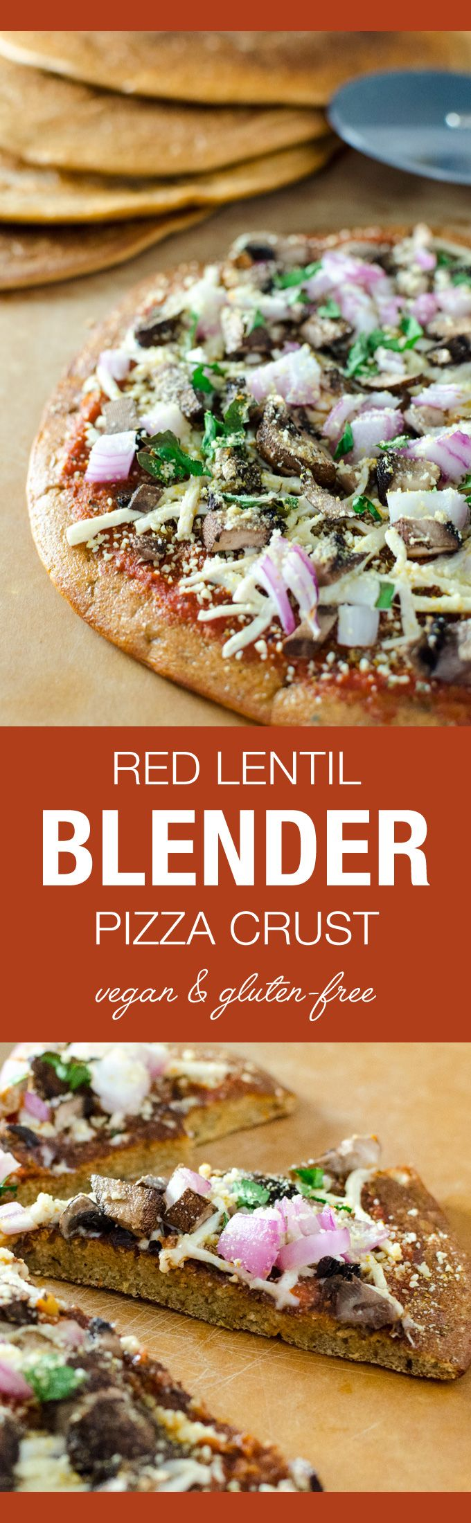 This easy blend and pour vegan gluten-free red lentil blender pizza crust recipe creates a flavorful pancake/tortilla-like crust in just over 5 minutes.
