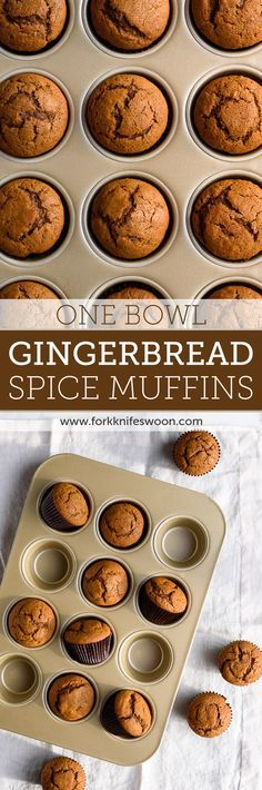 *One Bowl* Gingerbread Muffins - these are super easy to whip up, full of flavor and great for the Holidays! via forkknifeswoon.com