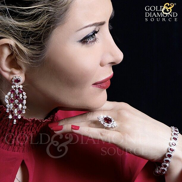 @goldanddiamond_  These are in-store only ruby items. Stunning Diamond and Ruby Chandelier Style Earrings Specs: 17.65 carats of Burmese rubies set with 12.46 carats marquis, pear and round brilliant diamonds in 18kt white gold. $49,999 Beautiful Ruby and Diamond Halo Style Bracelet specs: 15.10 carats Burmese rubies set in halo of 5.8 carats round brilliant diamonds in 18kt white gold. $32,900 Elegant Ruby and Diamond ring