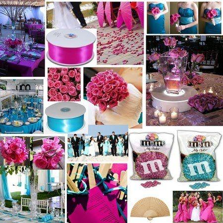 Aqua Blue Fuchsia Turquoise Wedding Inspiration Board