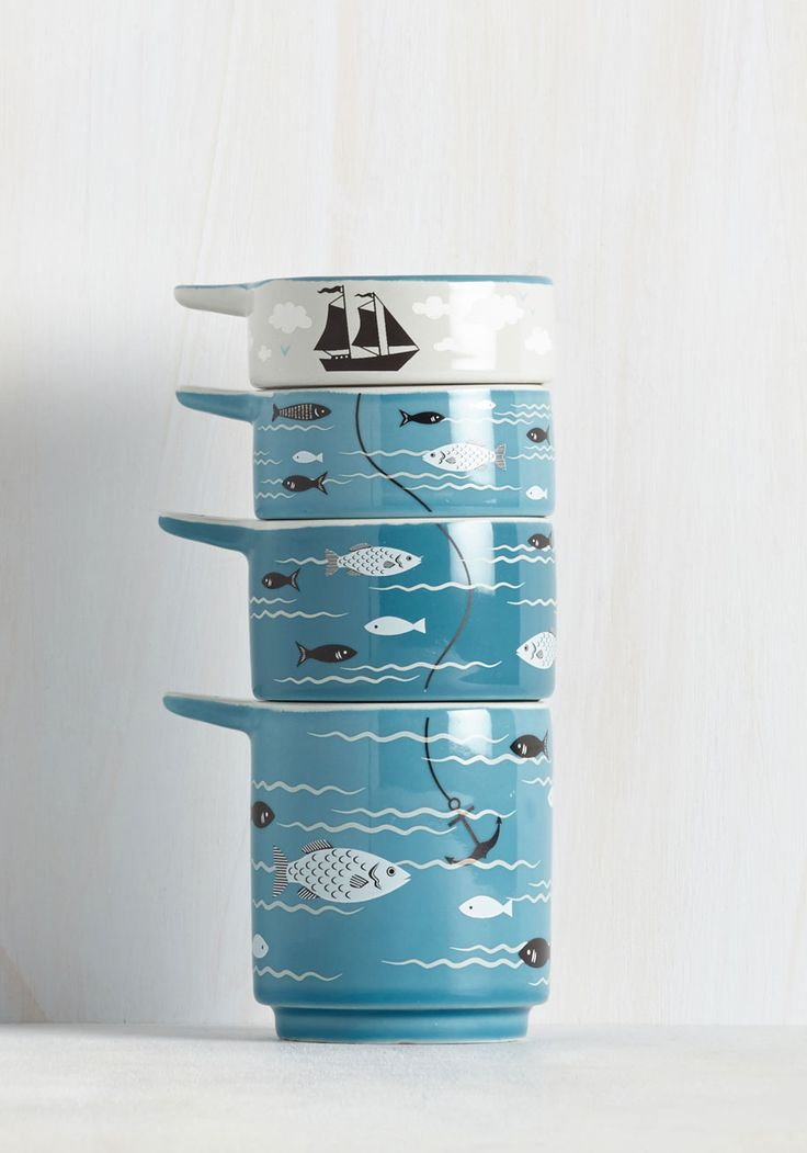 Swell sea soned measuring cups add a dash of splashing fun to your kitchen