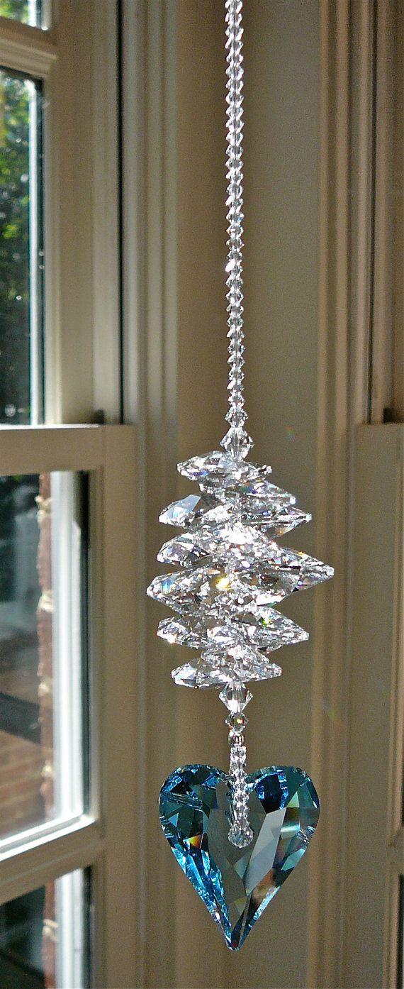 Swarovski Crystal Heart Suncatcher Window by HeartstringsByMorgan