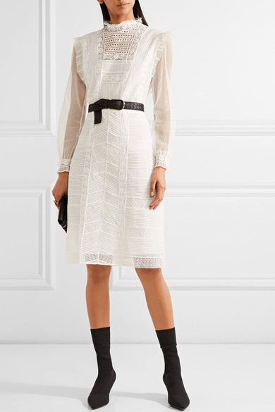 Burberry - Tulle And Cotton-blend Lace Dress - White - UK10