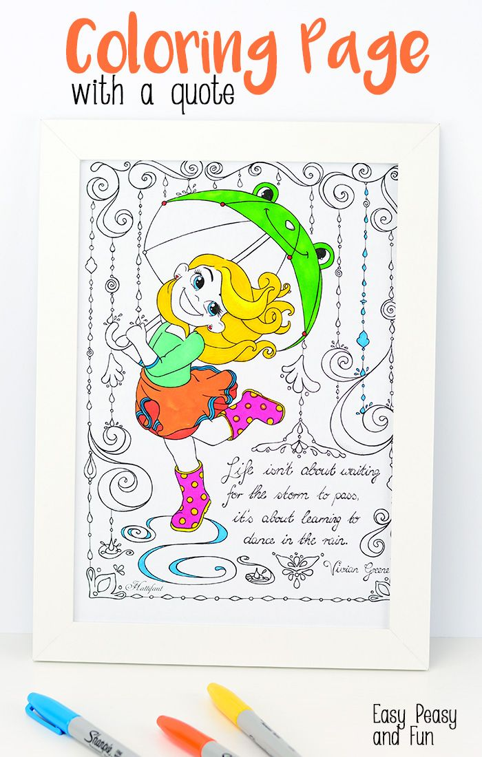 Dancing in the Rain Coloring Page - Easy Peasy and Fun