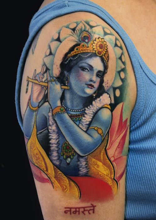 Another Krishna tattoo by Jeff Gogue.