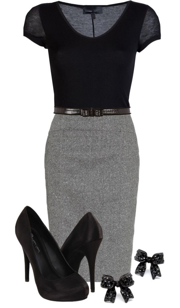You can have this style with the CAbi Seamed Pencil Skirt in gravel, and the Skinny Belt, paired with a black cami under the Pointelle Sweater.