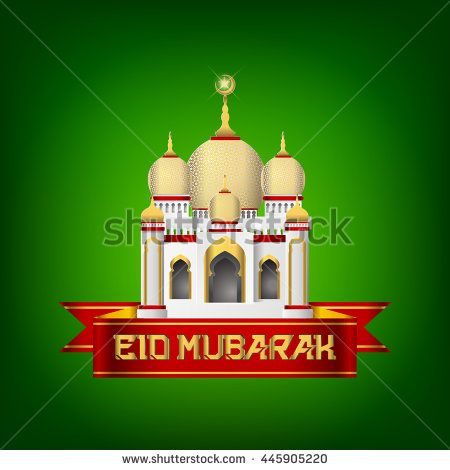Eid Mubarak Islamic Greeting Banner Design with Green Background