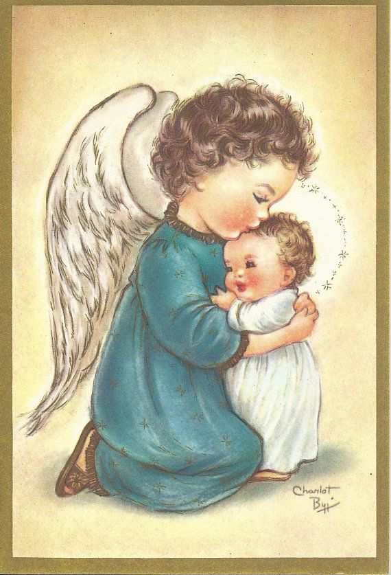 C279 Vintage Christmas Greeting Card by artist Charlot Byj Angel with child…