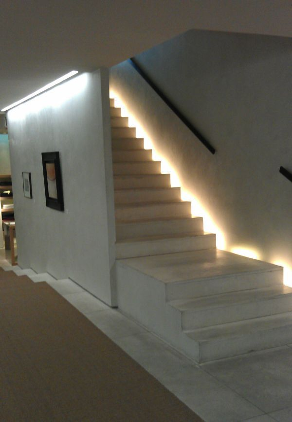 Lighting, Magnificent Interior Stair Lighting For White Stairs And Black Hand Holder Also Picture Frames On White Walls And Brown Carpet On White Tile Floor: Cool Stunning Interior Stair Lighting Design Ideas