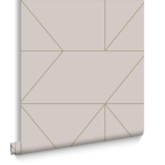 Geo Taupe et Khaki Papier Peint, , large