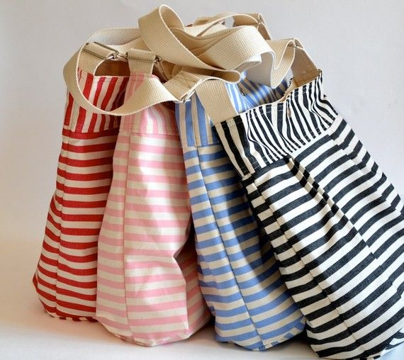 Canvas Totes - I can't have enough, as I like to keep a few different bags already packed (one w/ beach essentials; one for sleep overs at Grandma's; One in the car w/ diapers xtra clothes & emergencies; etc.) So I'm ready at a moments notice, which means less stress/more fun. From ikabags Etsy shop. $59.00