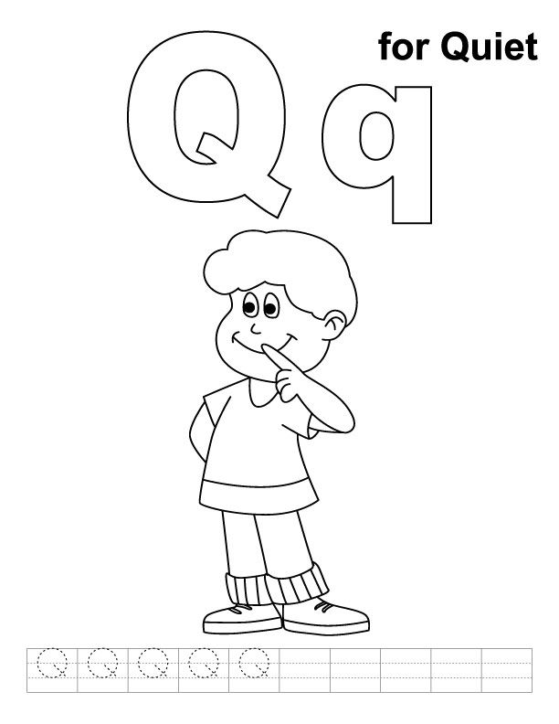 Q For Quiet Coloring Page With Handwriting Practice