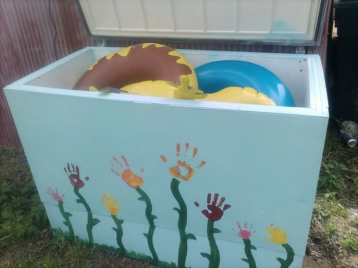 Old Deep Freeze Turned New Pool Toy Storage