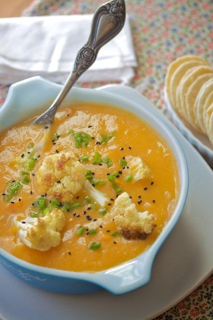 this soup has only five ingredients: cauliflower, sweet potatoes, onion, garlic, and water!.