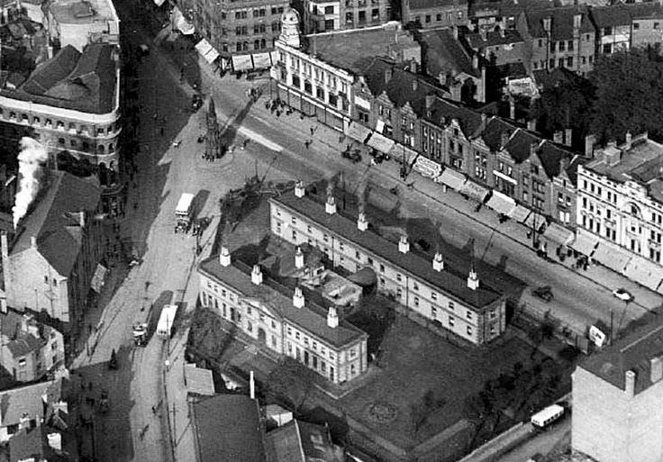 Aerial view of Greyfriar Gate and Carrington Street, c 1927. Showing the Walter Fountain and the Collins Almshouses (demolished when Maid Marian Way was constructed down to this area). Most of this site is now covered by the Broadmarsh Shopping Centre.