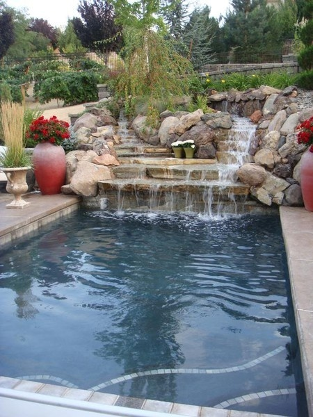 Waterfall On A Rectangle Pool Too Much Rock For Me But Like The Idea Back Yard Pinterest