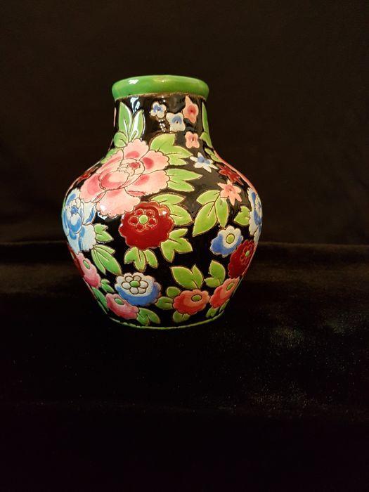 Online veilinghuis Catawiki: Catteau - Art Deco aardewerk vaas met decor van rode en blauwe pioenen