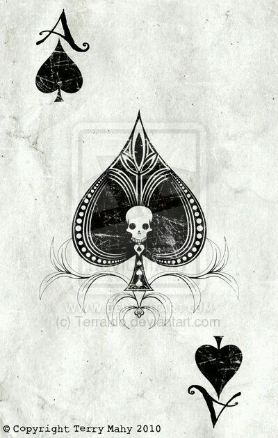 Skull playing card Ace