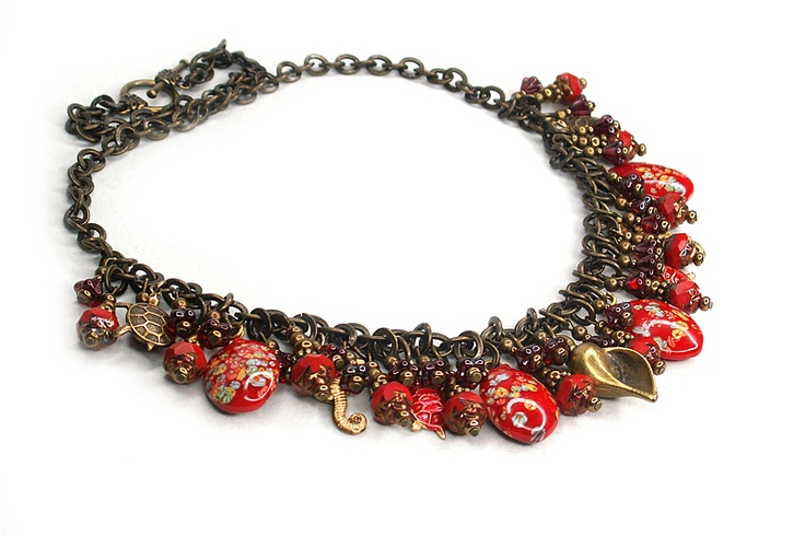 """Red Sea"" Necklace with vintage Japanese millefiori beads"