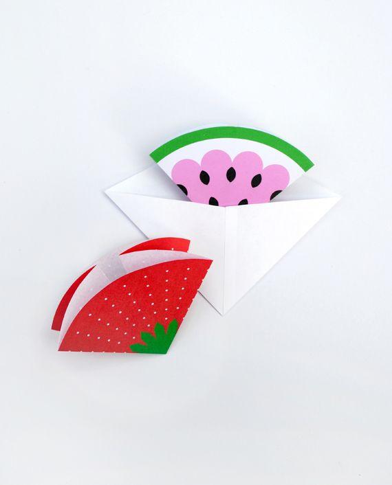 Fruity отметить карточек // Треугольные конверты
