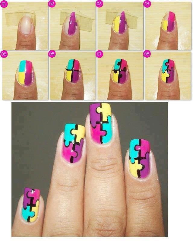 Puzzle pieces nail design