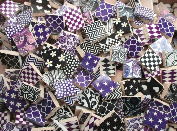 Bulk Mosaic Tiles 2 Pounds Mixed Black White Purple Mixed Mosaic