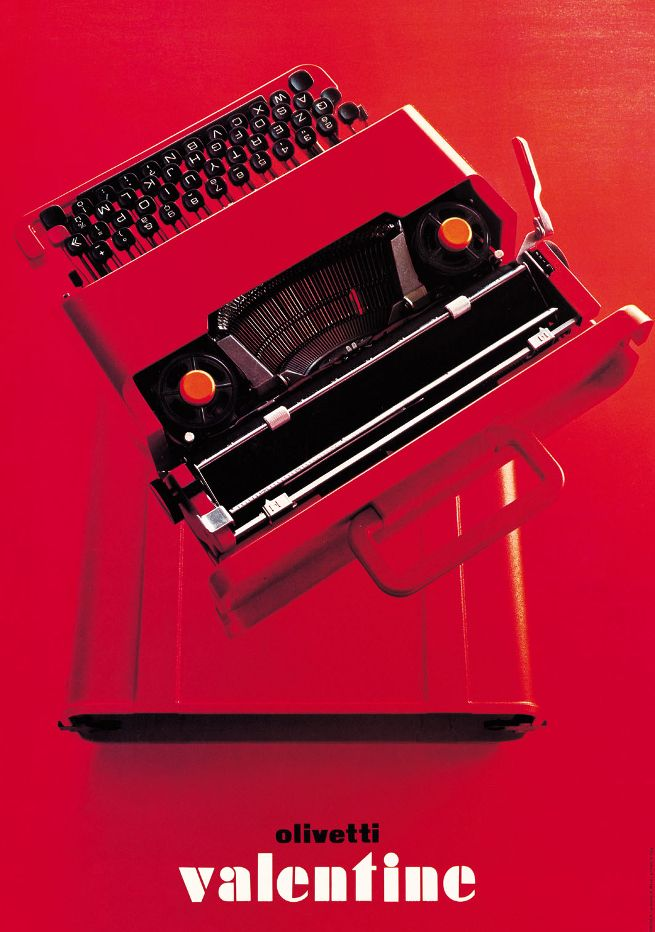 Poster for the Valentine typewriter, designed by Walter Ballmer (1969). Courtesy…
