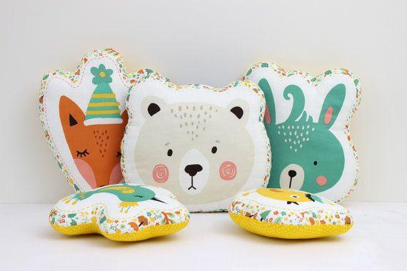 Animal Pillows - Fox Pillow, Bear Pillow, Bunny Pillow, Bird Pillow, Kids Pillows, Child Pillow, Nursery Decor, Animal Cushions, Plush Toys.