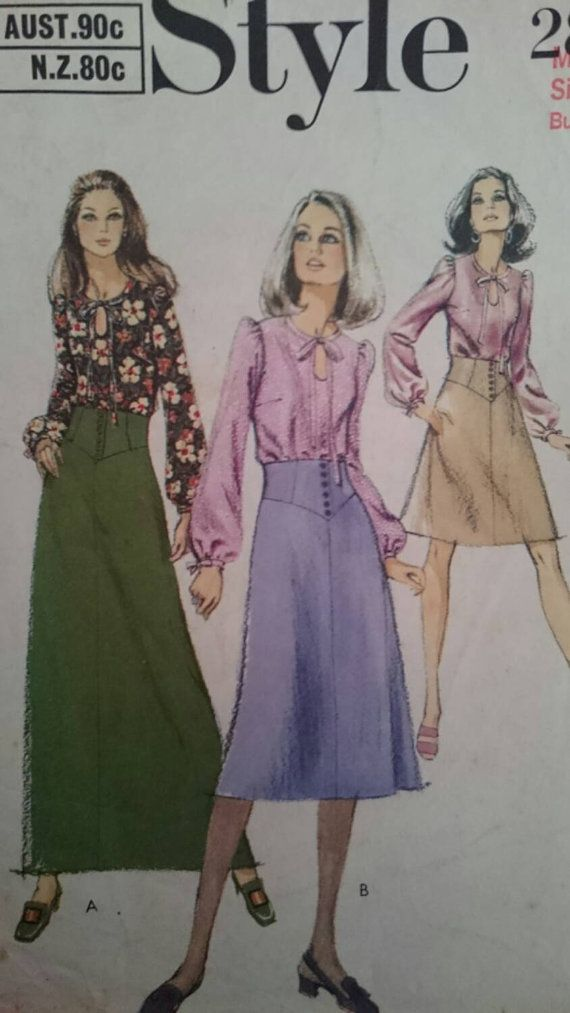 Seventies Tailored Skirt  and Top Pattern in Vintage Size 10