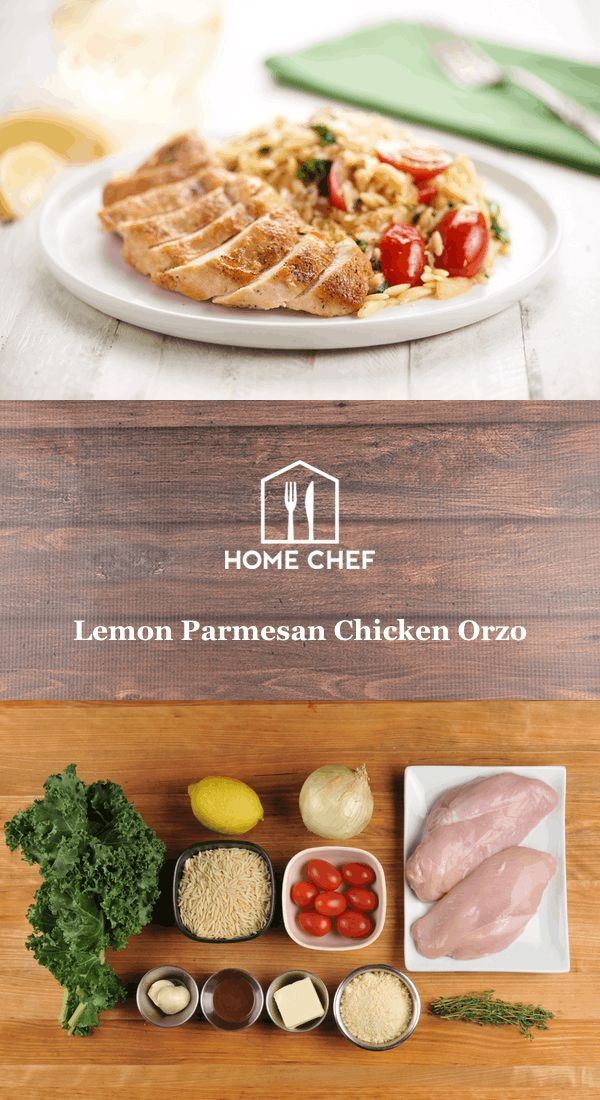 This meal is all about joining, in that you'll be as glad as ever that you joined Home Chef after one simple bite. Orzo pasta is joined by Parmesan, lemon, kale, and tomatoes, which results in a hearty, creamy bed of deliciousness on which to rest a juicy seared chicken breast. We wish you could join you in eating this fantastic meal!