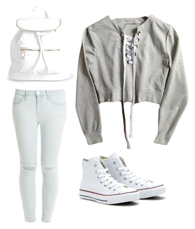 """Going light"" by skyemcc on Polyvore featuring Current/Elliott, Converse and Boohoo"