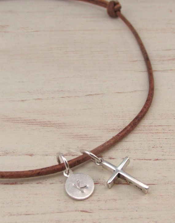 Men's Necklace with Sterling Silver Initial and Simple Cross by TNine Design, $27.00  Perfect Anniversary or Fathers Day Gift