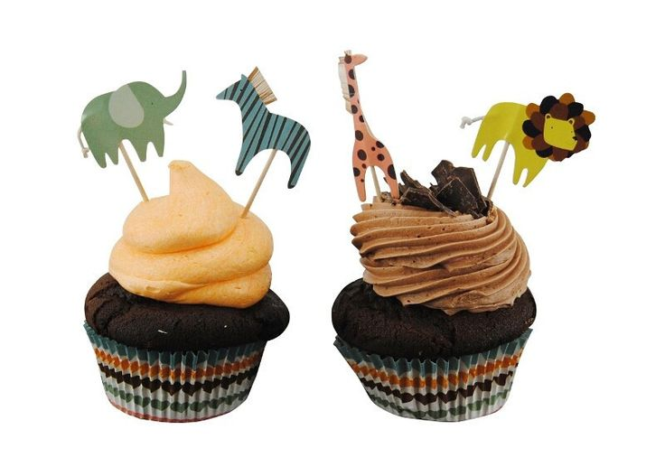 Animal Parade Cupcake Kit. A cupcake kit perfect for animal lovers! The kit contains all their favorite safari animal toppers including elephant, giraffe, lion and zebra.