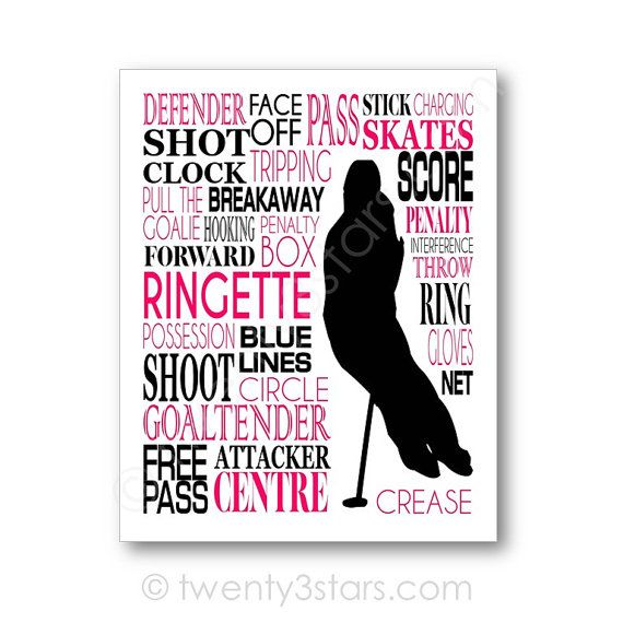 Ringette Typography Art Canvas or Print Girl's by twenty3stars