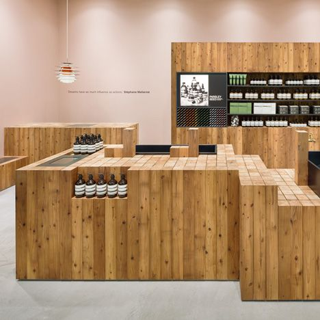 Torafu Architects uses Japanese cedar columns<br /> for fifth Aesop shop interior