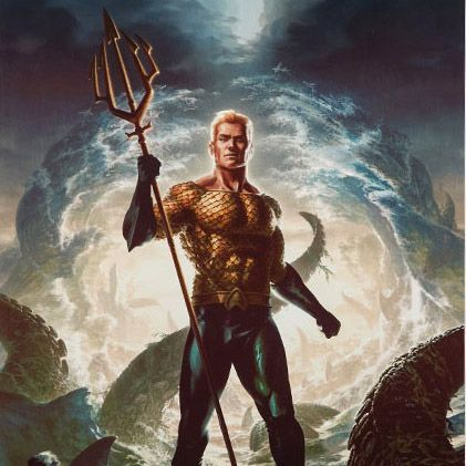 """The king of the seven seas becomes the king of your four walls with the Aquaman Premium Art Print.  Artist Fabian Schlaga created this eye-catching 18"""" x 24"""" print that features Arthur Curry AKA Aquaman with his classic 'not Jason Momoa' look. The ruler of Atlantis is looking somewhat intimidating"""
